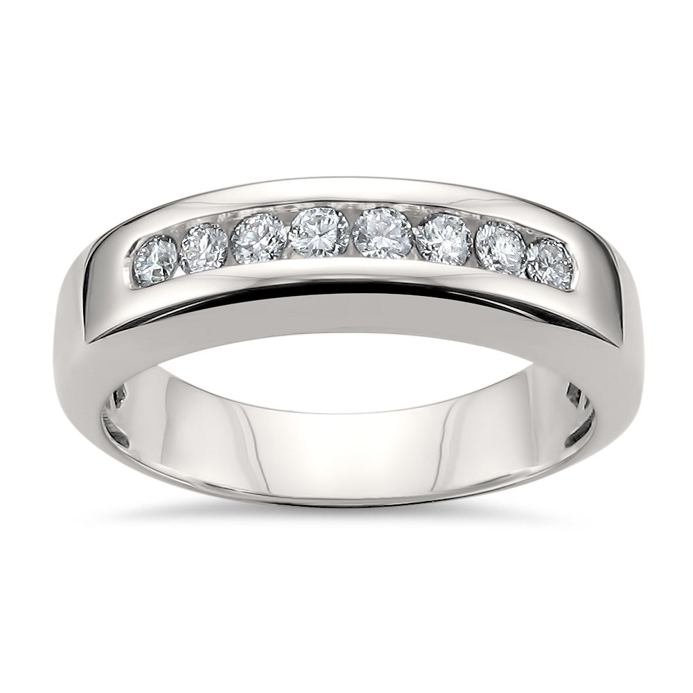 14k white gold 8 stone round diamond men39s comfort fit for Mens wedding rings with stones