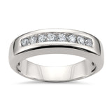 14k White Gold 8-Stone Round Diamond Men's Comfort Fit Wedding Band Ring (1/2 cttw, H-I, SI2-I1)