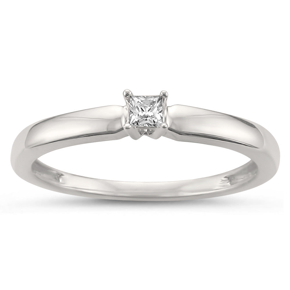 14k White Gold Princess-cut Solitaire Diamond Promise Ring (1/10 cttw, H-I, I1-I2)