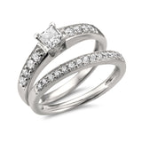 14k White Gold Princess-cut & Round Diamond Engagement Bridal Set Wedding Ring (1 cttw, H-I, I1-I2)