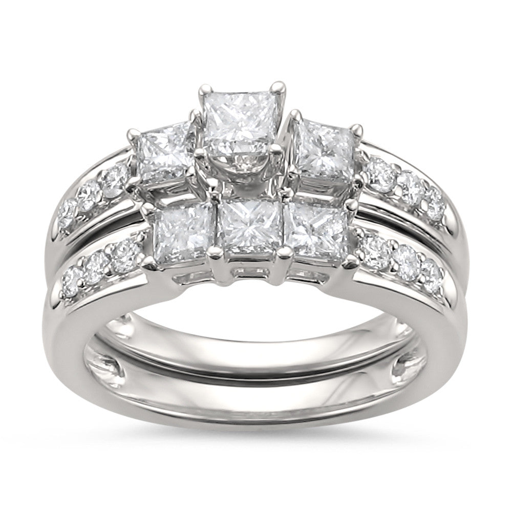 14k White Gold Princess-cut & Round Diamond Engagement Bridal Set Wedding Ring (1 1/2 cttw, H-I, I1-I2)