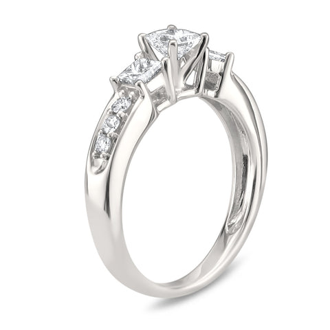 14k White Gold Princess-cut & Round Diamond Three-Stone Wedding Engagement Ring (7/8 cttw, H-I, I1-I2)