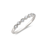 14k White Gold 7-Stone Round Diamond Bridal Wedding Band Ring (1/4 cttw, I-J, I2)