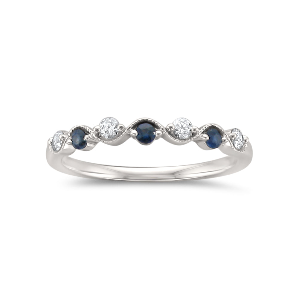 14k White Gold 7-Stone Round Diamond & Blue Sapphire Wedding Band Ring (1/4 cttw, I-J, I2)