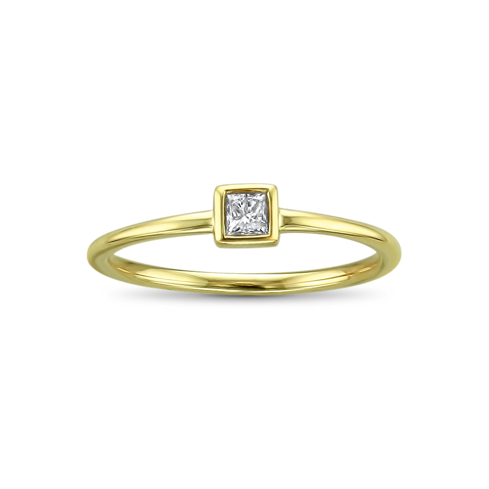 14k Yellow Gold Princess-cut Solitaire Diamond Promise Ring (1/10 cttw, I-J, I2-I3)