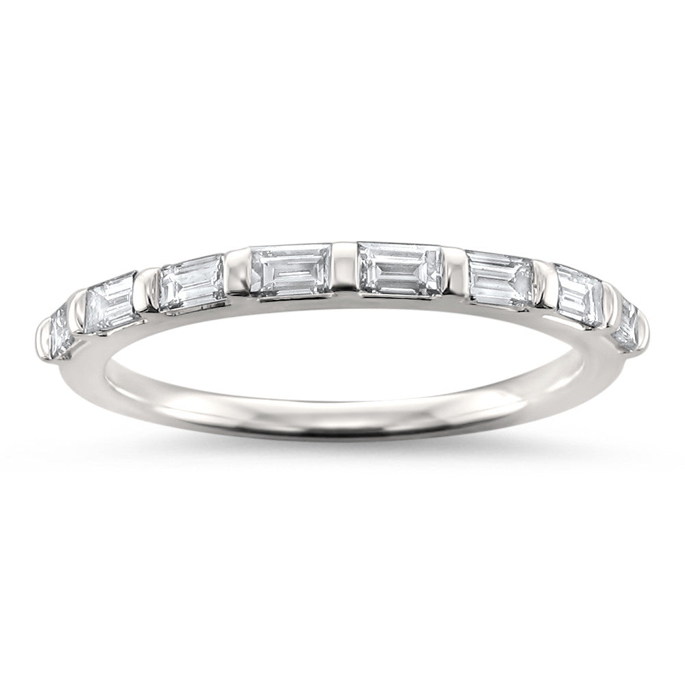 14k White Gold Baguette Diamond Bridal Wedding Band Ring (1/2 cttw, H-I, SI1-SI2)