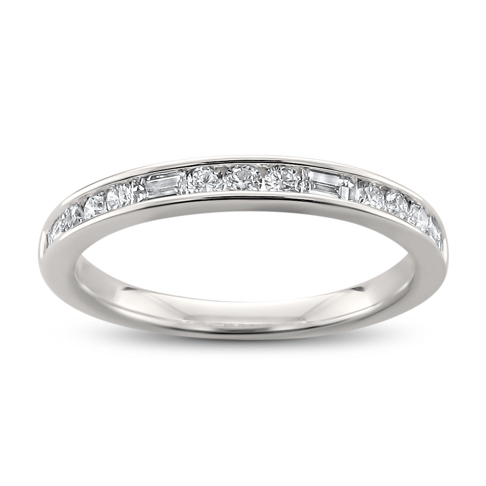 14k White Gold Baguette & Round Diamond Bridal Wedding Band Ring (1/2 cttw, H-I, I2-I3)