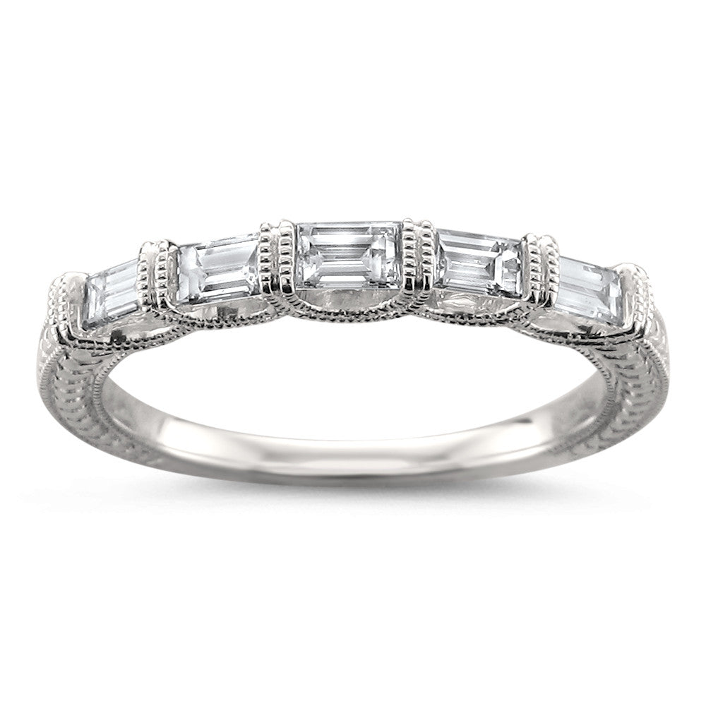 14k White Gold 5-Stone Baguette Diamond Milgrain Vintage-Style Wedding Band Ring (1/2 cttw, H-I, SI1-SI2)
