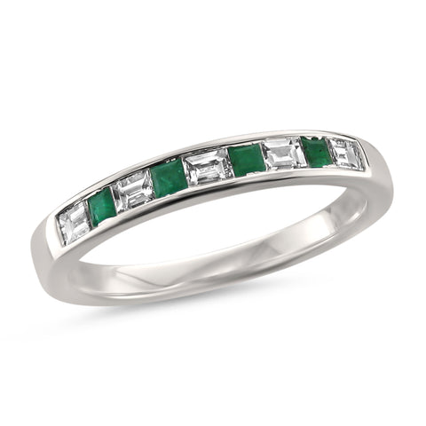 14k White Gold Baguette Diamond & Princess-cut Green Emerald Wedding Band Ring (1/2 cttw, H-I, SI1-SI2)