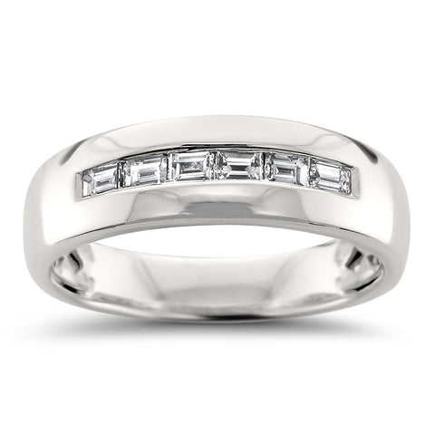 14k White Gold Baguette Diamond Men's Comfort Fit Wedding Band Ring (1/2 cttw, H-I, VS2-SI1)