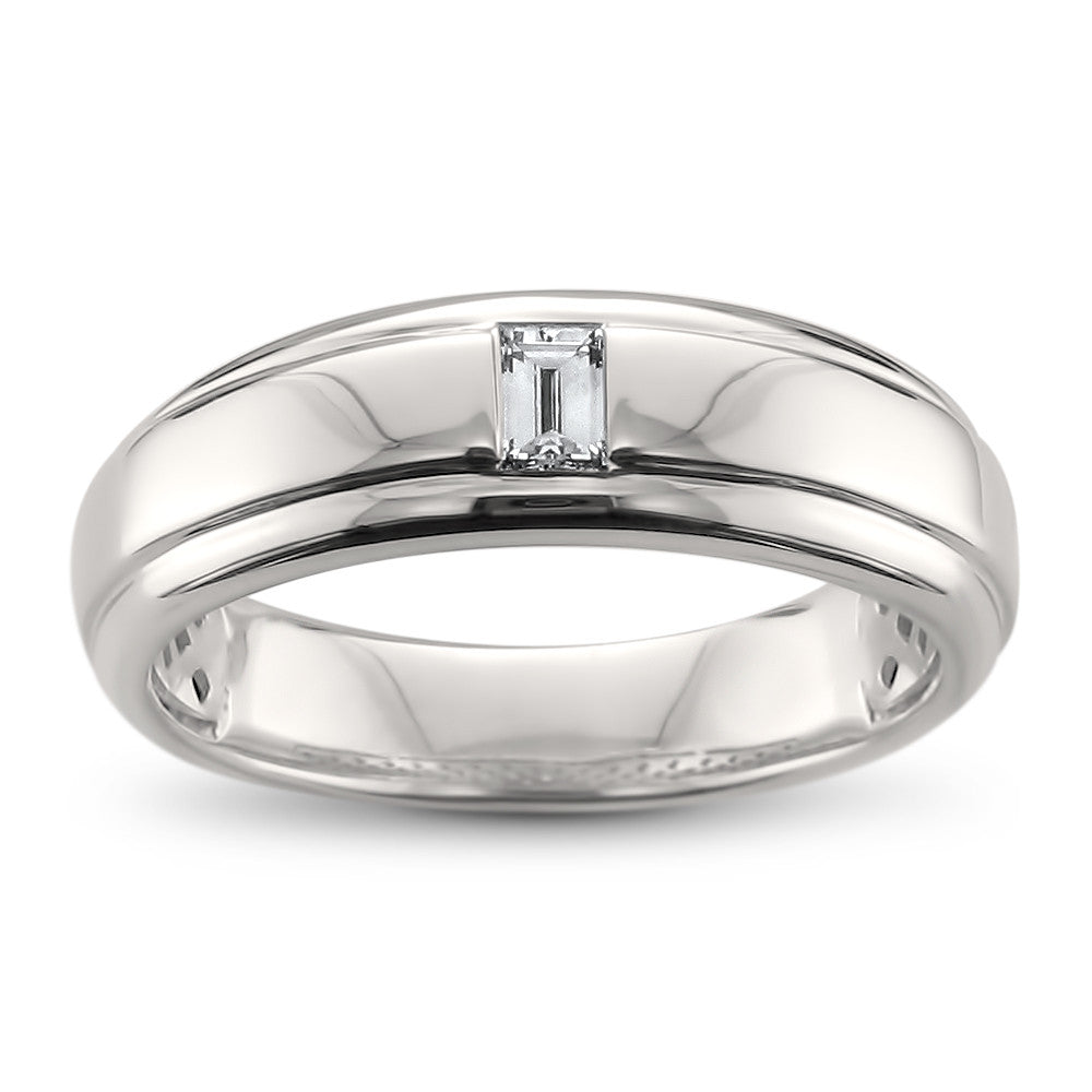 14k White Gold Baguette Diamond Men