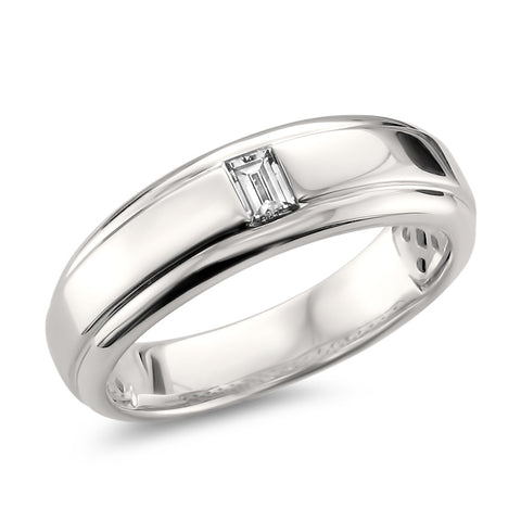 14k White Gold Baguette Diamond Men's Comfort Fit Wedding Band Ring (1/5 cttw, H-I, SI1-SI2)
