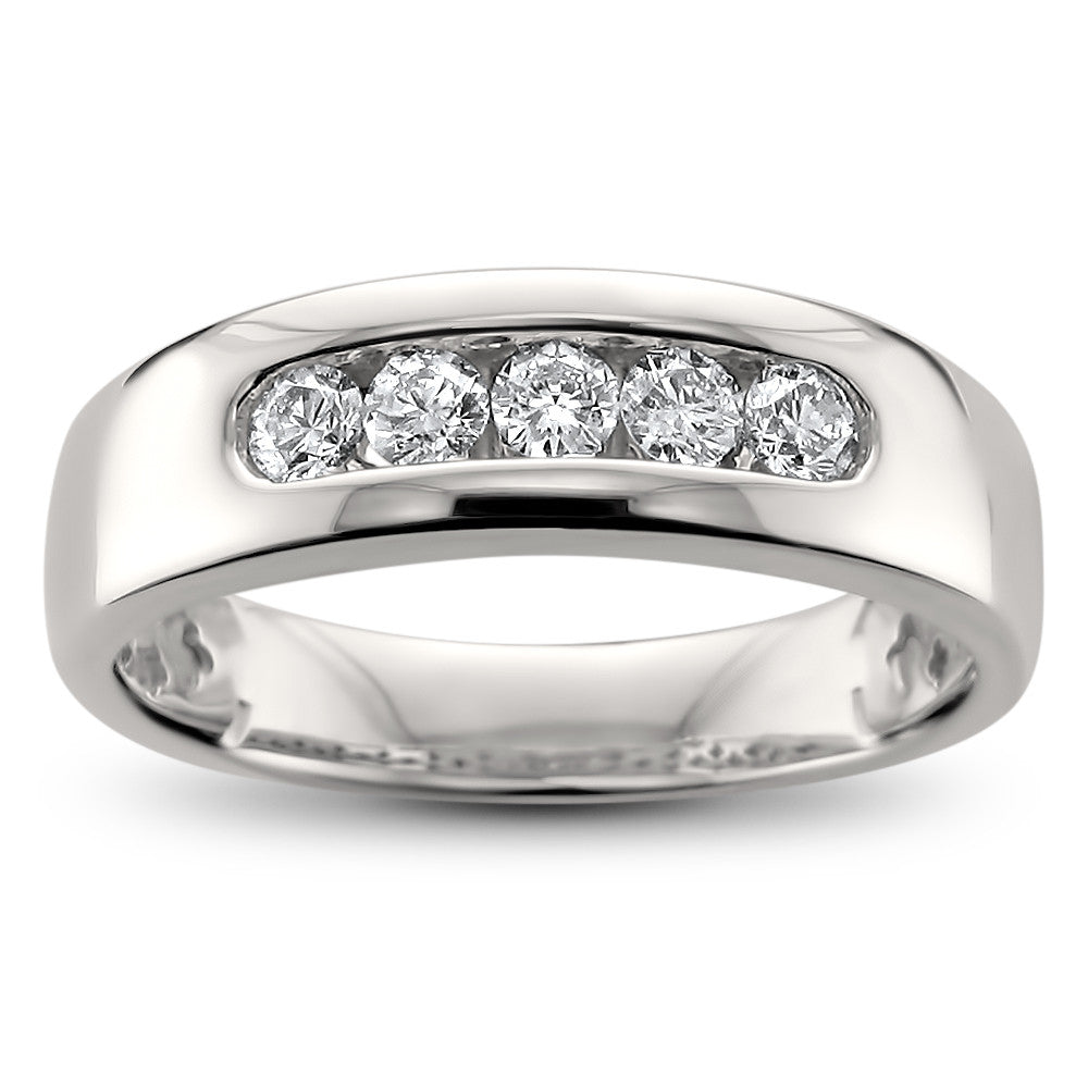 stone diamond ring platinum cut tw bands in classic ct princess p five band