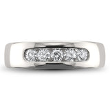 14k White Gold 5-Stone Round Diamond Men's Comfort Fit Wedding Band Ring (1/2 cttw, H-I, I2-I3)