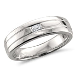 14k White Gold Baguette Diamond Men's Comfort Fit Wedding Band Ring (1/8 cttw, H-I, SI1-SI2)