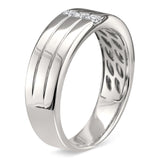 14k White Gold Princess-cut Diamond Men's Comfort Fit Wedding Band Ring (1/5 cttw, H-I, I2-I3)