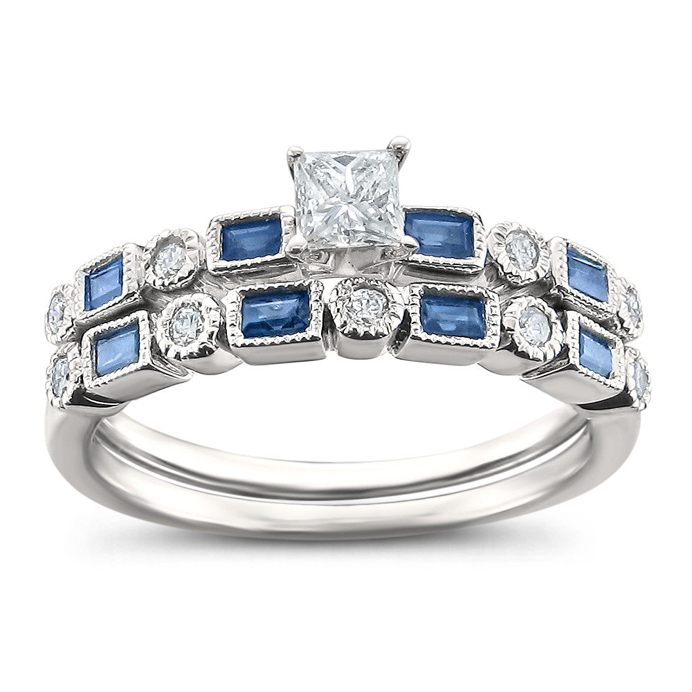 rings ring medium wedding blue photo engagement titanium set hers couple his itm sapphire matching and cz