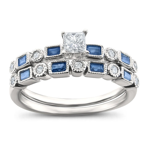 14k White Gold Princess-cut & Round Diamond & Baguette Sapphire Wedding Band Ring Set (3/4 cttw, H-I, I2)