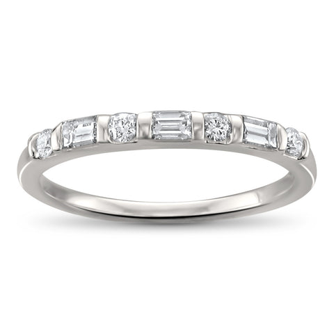 14k White Gold Baguette & Round Diamond Bridal Wedding Band Ring (1/3 cttw, H-I, SI1-SI2)