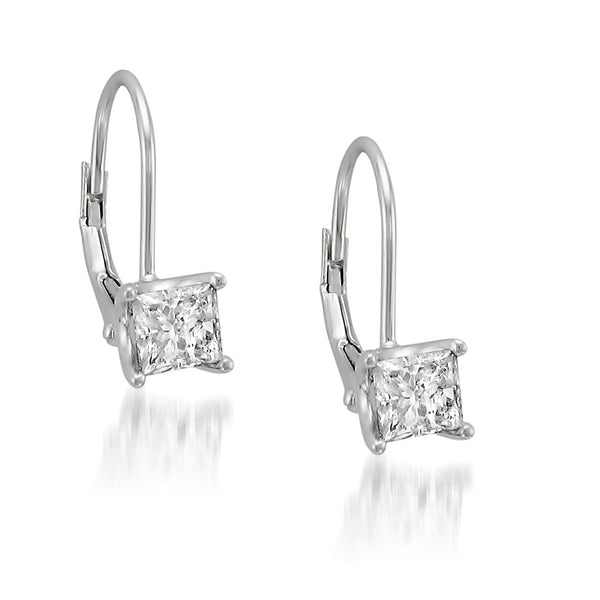 14k White Gold Princess Cut Solitaire Diamond Leverback Hoop Earrings 1 Cttw I J