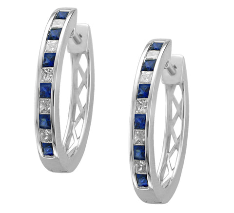 14k White Gold Princess-cut Diamond & Blue Sapphire Hoop Earrings (1 3/4 cttw, I-J, I2-I3)