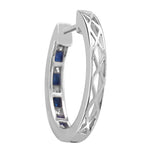 14k White Gold Princess-cut Diamond & Blue Sapphire Hoop Earrings (2 cttw, I-J, I2-I3)