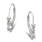 14k White Gold Round Diamond Three-Stone Leverback Hoop Earrings (1/4 cttw, H-I, I1-I2)