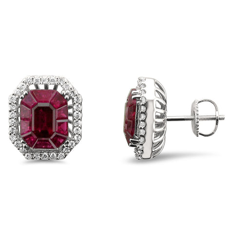 18k White Gold Invisible-Set Natural Red Ruby & Round Diamond Halo Stud Earrings (4.78 cttw, H-I, VS2-SI1)