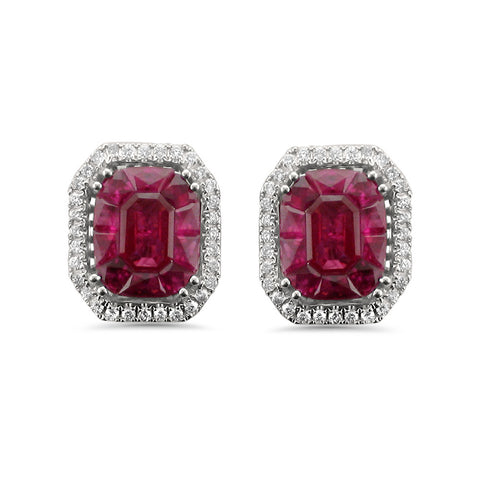 18k White Gold Invisible-Set Natural Red Ruby & Round Diamond Halo Stud Earrings (4.71 cttw, H-I, VS2-SI1)