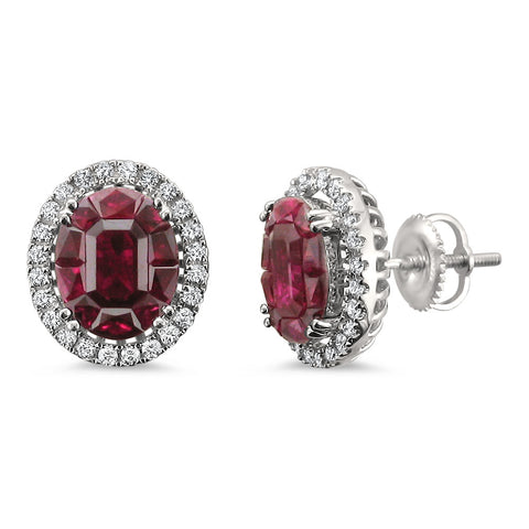 18k White Gold Invisible-Set Natural Red Ruby & Round Diamond Halo Stud Earrings (5.48 cttw, H-I, VS2-SI1)