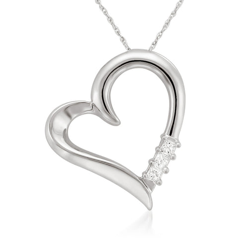 14k White Gold Round Diamond Heart Pendant of Mother and Child Necklace (1/10 cttw, H-I, I1-I2)