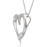 14K White Gold 3-Stone Princess-cut Diamond Heart Pendant (1/10 cttw, H-I, I2-I3)