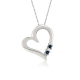 14k White Gold 3-Stone Princess-cut Diamond & Sapphire Heart Pendant Necklace (1/10 cttw, H-I, I2-I3)