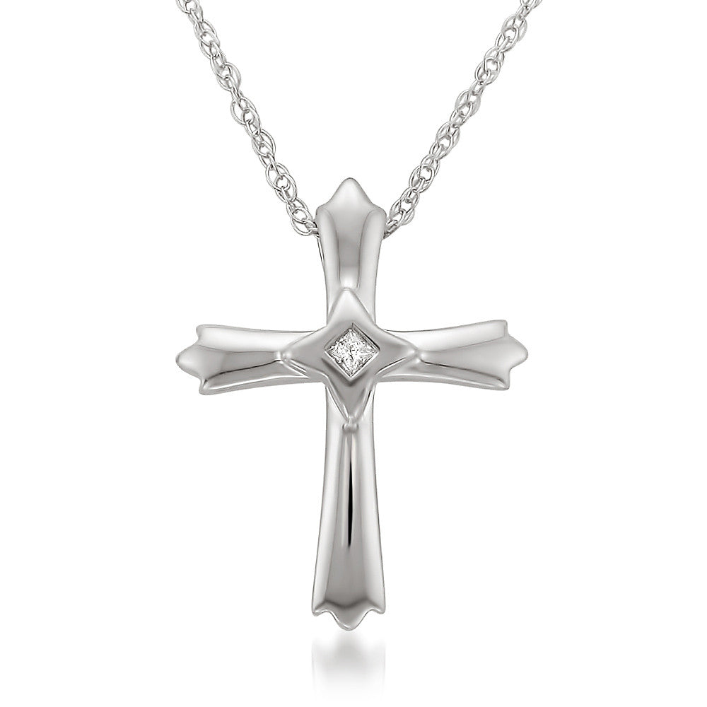 Sterling Silver Princess-cut Diamond Accent Cross Pendant Necklace (I-J, I2-I3)