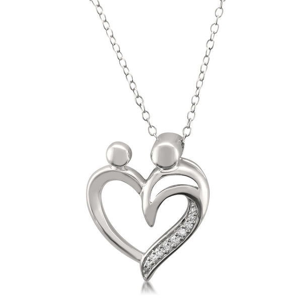Sterling Silver Round Diamond Heart Pendant Of Mother And
