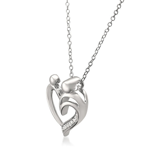 Sterling Silver Round Diamond Heart Pendant of Mother and Child Necklace (1/10 cttw, H-I, SI2-I1)