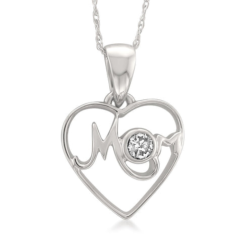 14k White Gold Round Diamond Accent Heart Pendant of Mother and Child Necklace (H-I, I1-I2)