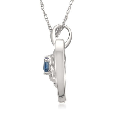 14k White Gold 1/10 cttw Princess-Cut Blue Sapphire Mom Heart Pendant Necklace