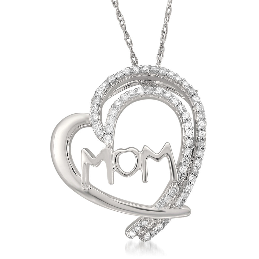 14k White Gold Round Diamond Mom Heart Pendant Necklace (1/6 cttw, H-I, I2-I3)