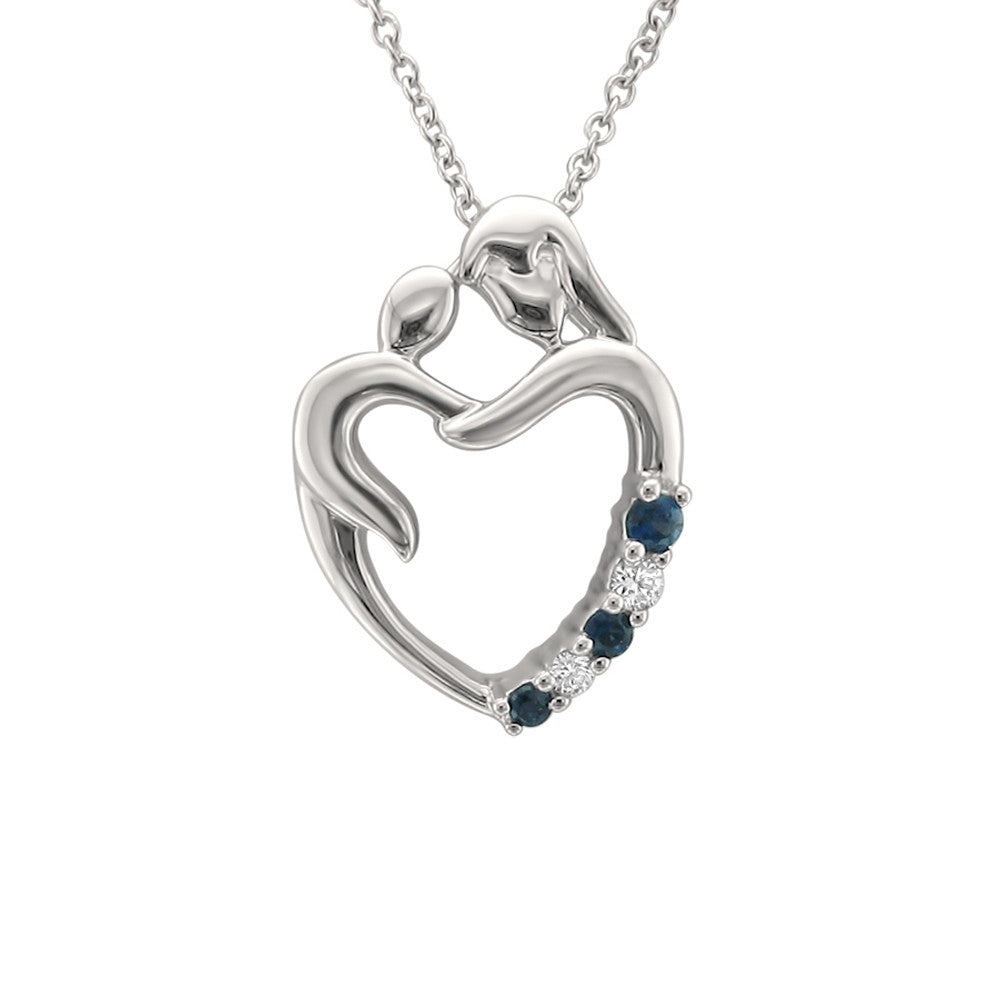 14k White Gold Round Diamond & Blue Sapphire Heart Pendant Mother Child Necklace (1/10 cttw, H-I, I1-I2)