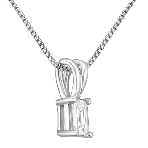 14k White Gold Emerald-cut Diamond Solitaire Pendant Necklace (1/4 cttw, H-I, VS2-SI1)