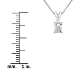 14k White Gold Emerald-cut Diamond Solitaire Pendant Necklace (1/3 cttw, H-I, VS2-SI1)