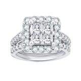 10K Solid Gold 3.00 CTTW Princess And Round Diamond Bridal Set (IJ / I2-I3)