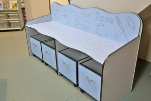 construction bench with mobile storage boxes
