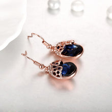 Load image into Gallery viewer, ALLORA Sapphire Drop Earrings in 18K Rose Gold Plate