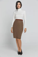 Load image into Gallery viewer, EXETER Luxurious Brown Pencil Skirt
