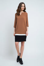 Load image into Gallery viewer, WINSTED Camel and Black Color Block Dress