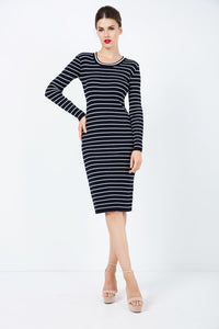 CONWAY Long Sleeve Striped Fitted Dress