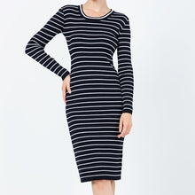 Load image into Gallery viewer, CONWAY Long Sleeve Striped Fitted Dress