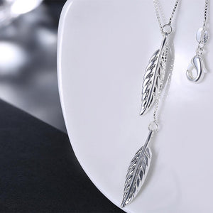 SILVERLEAF Necklace in 18K White Gold Plate